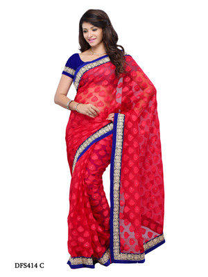 Red Color NetJacquard Bollywood Party Wear Designer Saree