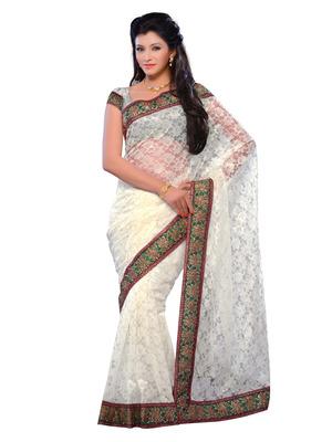 White Color Brasso Party Wear Fancy Designer Saree