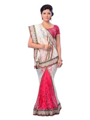 White Color Net Party Wear Fancy Designer Saree