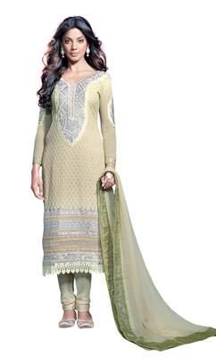 Dazzling Lace Bordered Faux Georgette Salwar Kameez