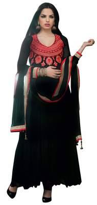 Stupendous Black Colored Embroidered Faux Georgette Anarkali