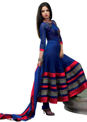 Breathtaking Blue Colored Embroidered Net Anarkali