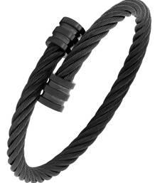 Buy Rope mesh macho black 316l surgical stainless steel free size cuff kada bangle bracelet for men men-bracelet online
