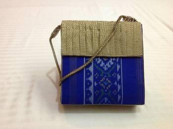 Gold blue patoda box clutch