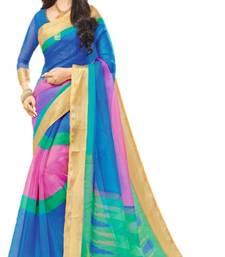 Buy Multicolor printed organza saree with blouse below-1500 online