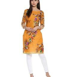 Buy Yellow printed cotton stitched kurtas-and-kurtis kurtas-and-kurti online