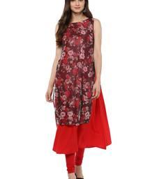 Buy Red printed crepe stitched kurtas-and-kurtis kurtas-and-kurtis online