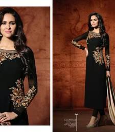 Buy Black embroidered georgette salwar with dupatta semi-stitched-salwar-suit online