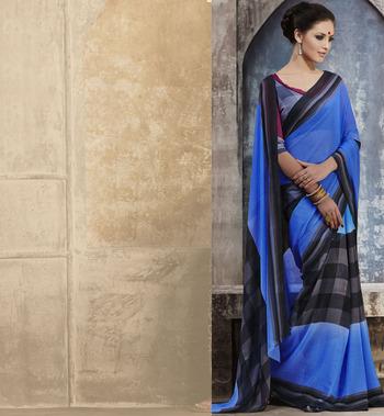 Trendy Blue Georgette Saree