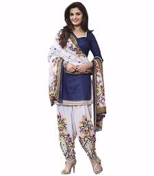 Buy Blue printed cotton salwar with dupatta salwar-kameez-below-2000 online
