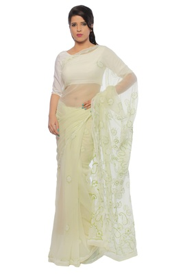 Lemon embroidered georgette saree with blouse