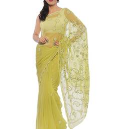 Buy Green embroidered georgette saree with blouse chikankari-sari online