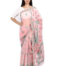 Buy Orange embroidered georgette saree with blouse chikankari-sari online