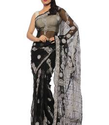 Buy Black embroidered georgette saree with blouse designer-embroidered-saree online