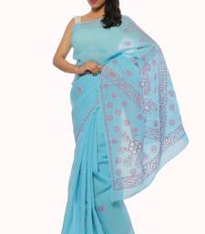 Buy Blue embroidered cotton saree with blouse designer-embroidered-saree online