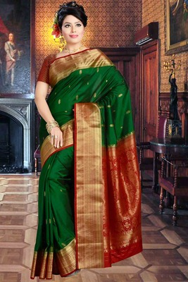 Bright green pure silk zari weaved saree in red pallu & blouse-SR5806