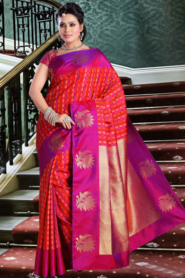 Multi colour pure silk zari weaved saree in golden pallu & pink blouse-SR5828