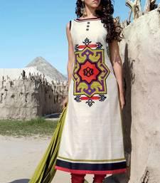 Buy White stitched taffeta silk stitched kurti Woman online