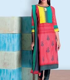 Buy multicolor stitched taffeta silk stitched kurti Woman online