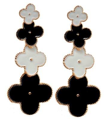 Trendy Two-Tone Statement Push-Back Drop Earrings