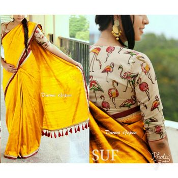 Yellow printed chanderi saree with blouse