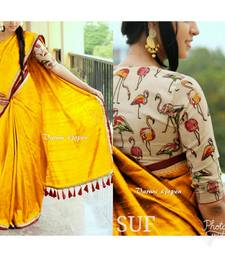 Buy Yellow printed chanderi saree with blouse cotton-saree online