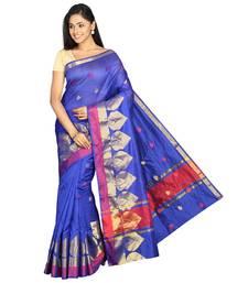 Buy Blue plain silk cotton saree with blouse banarasi-saree online