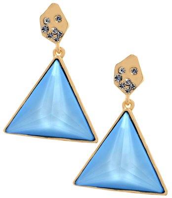 Simple Blue Stone Work Push-Back Drop Earrings