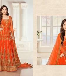 Buy Orange Embroidered net anarkali semi stitched salwar with dupatta anarkali-salwar-kameez online