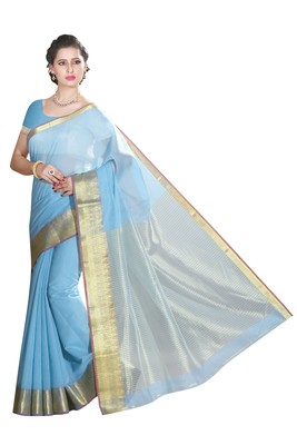 Light blue maheshwari  saree with blouse