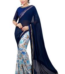 Buy Blue printed georgette saree with blouse fancy-saree online