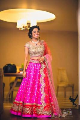 Pink embroidered silk unstitched lehenga with dupatta