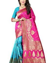 Buy Pink woven art silk saree with blouse banarasi-saree online