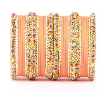 Golden Bracelet with Multi Coloured stones and Matte Finish Bangle Set for Women