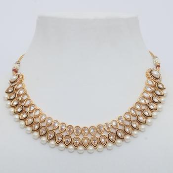 Attractive Maroon & Gold Polki Necklace