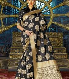 Buy Black woven kanchipuram silk saree with blouse kanchipuram-silk-saree online