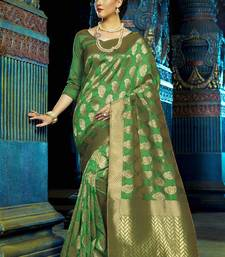 Buy Green woven kanchipuram silk saree with blouse great-indian-saree-festival online