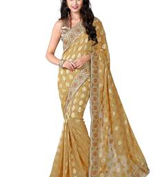 Buy Beige embroidered viscose saree with blouse viscose-saree online