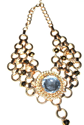 Chunky gold  tone acrylic  necklace