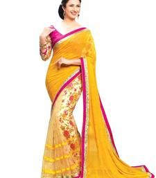 Buy Yellow embroidered pure net saree with blouse designer-embroidered-saree online