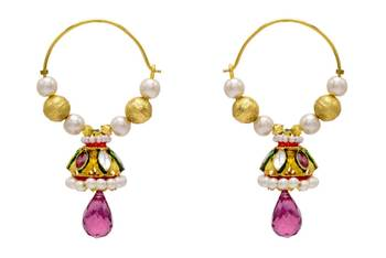 ANTIQUE GOLDEN TRADITIONAL STONE STUDDED KUNDAN TAAR EARRINGS/HANGINGS (RED)  - PCAE2090