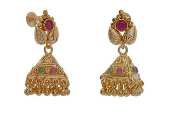 ANTIQUE GOLDEN STONE STUDDED TRADITIONAL SOUTH INDIAN EARRINGS/HANGGINGS/JHUMKA (RED GREEN) -PCAE2305
