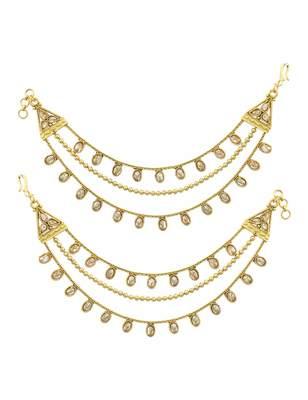 Golden beige polki stones ear chain jewellery for women