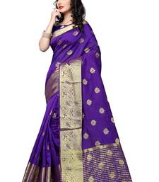 Buy Purple woven cotton silk saree with blouse cotton-silk-saree online