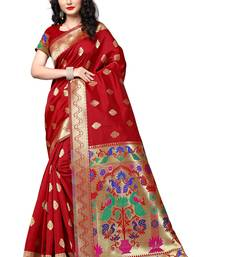 Buy Red woven jacquard saree with blouse jacquard-saree online
