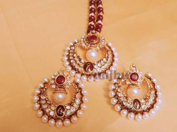 big red pearl and polki st with pearl mala
