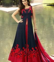 Buy Dark navy blue embroidered dupion silk salwar with dupatta salwar-kameez online