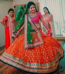 Buy Orange embroidered cotton silk semi stitched lehenga with dupatta lehenga-choli online