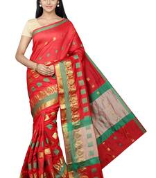 Buy Red plain banarasi silk saree with blouse great-indian-saree-festival online