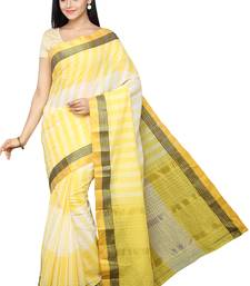 Buy Yellow plain pure cotton saree with blouse cotton-saree online
